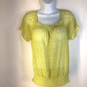 Joe Fresh yellow print blouse size medium